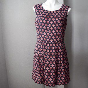Brooks Brothers Printed Swing Dress Size 10 Navy